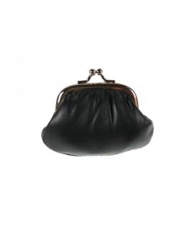 Petit porte-monnaie pour les pièces de cuir noir