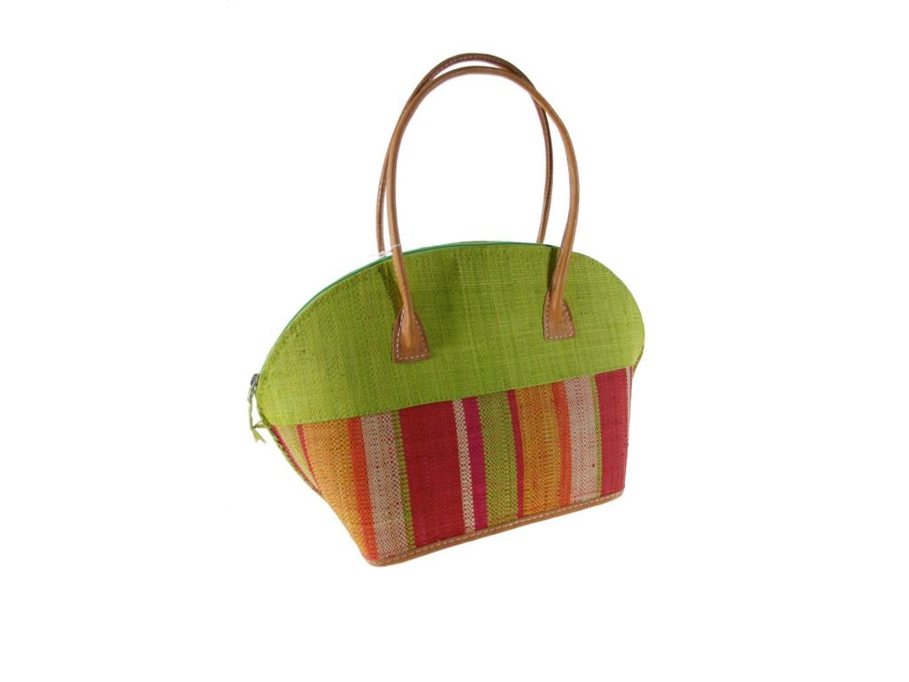 Bolso de Rafia de señora decolor verde con forro