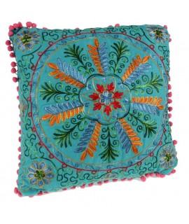 Cojín Bordado Multicolor -color Azul- 40x40cm.