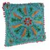 Cojín hippie bordado multicolor color Azul. Medidas: 40x40 cm.