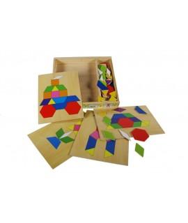 Trencaclosques mosaic multicolor en caixa de fusta