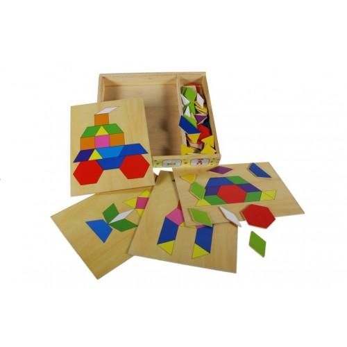 Puzzle mosaico multicolor en caja de madera