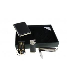 Pitillera con encendedor multi navaja y llavero -color Negro-