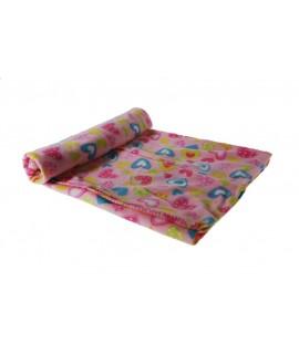 Manta suave Infantil bebé color rosa estampado para cuna5cm.