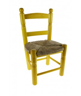 Silla Infantil de madera/esparto -color Amarillo-