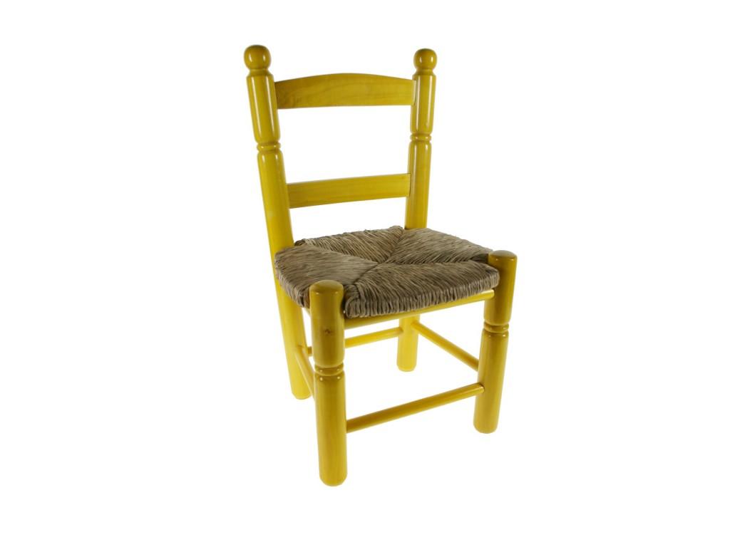 Silla infantil de madera y esparto color amarillo - Silla infantil madera ...
