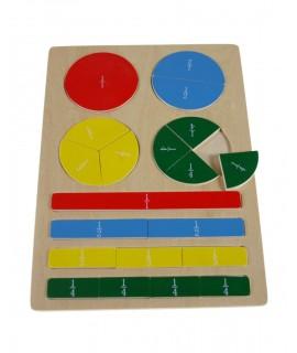 Puzzle de calcular fracciones de Madera