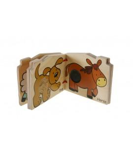Livre tactile fait d'animaux de ferme de bois