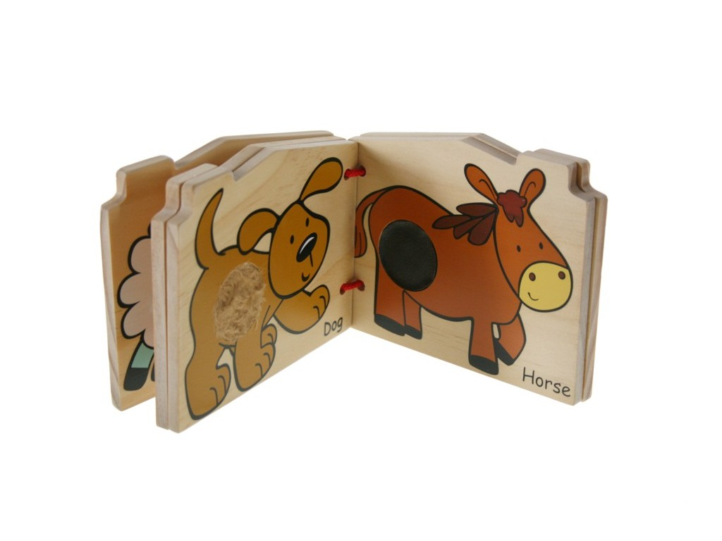 Libro táctil de madera para niño niña de animales granja