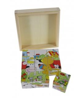 Puzzle de dados en caja de madera con dibujo oso