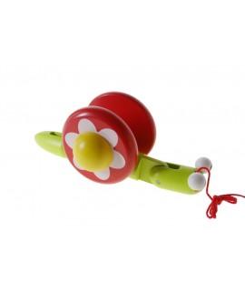 Arrossegament de Fusta Caragol Verd / Vermell