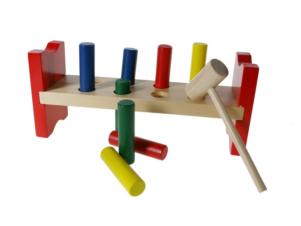 Banco de golpear de madera para insertar juego de motricidad