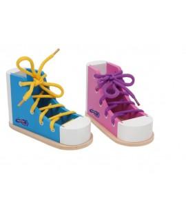 Para aprender hacer el nudo al zapato. Juego de motricidad
