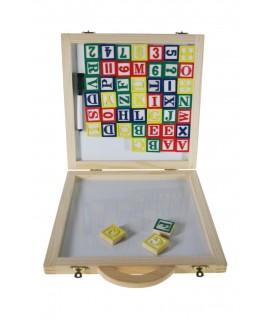 Maleta de letras y números con imán.