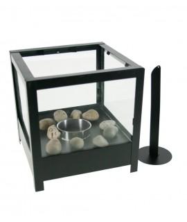Lanterne carrée bi-cheminée pour intérieur et extérieur couleur noire