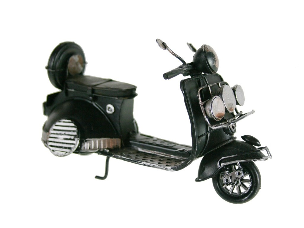 Réplica de moto vespa scooter en metal color negro vintage
