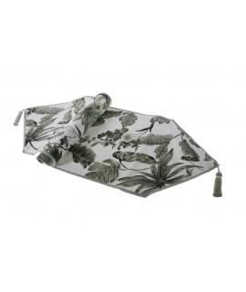 Camí de taula estampat color gris 33x125 cm.
