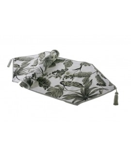 Camino de mesa estampado color gris 33x125 cm.