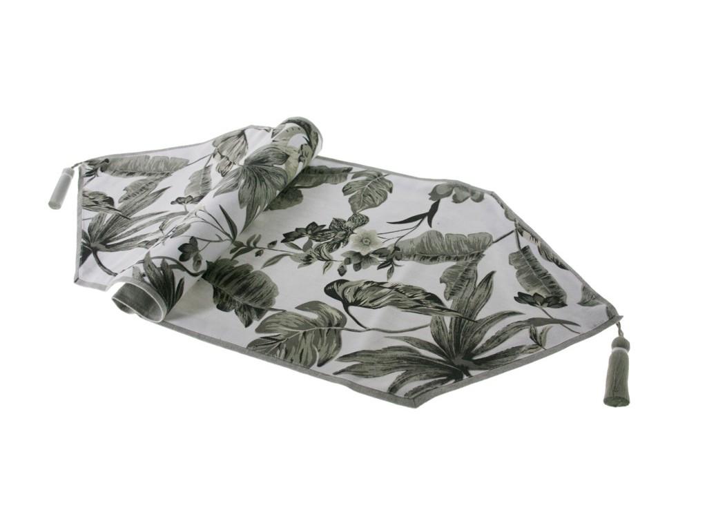 Camino de mesa decorativo estampado color gris estilo vintage.