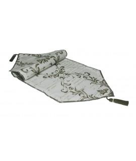 Chemin de table décoratif à motifs gris de style vintage