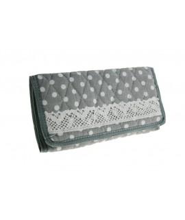 Neceser de tela acolchada con puntilla color gris