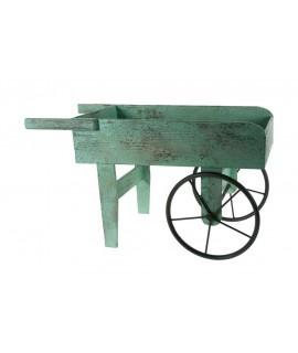 Macetero carro de madera y metal