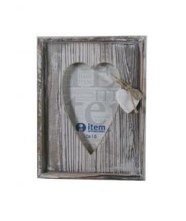 Cadre photo en bois de style vintage en forme de coeur