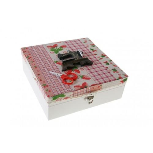 Acheter en ligne bo te en bois avec le tissu coudre de for Boite a couture avec accessoires