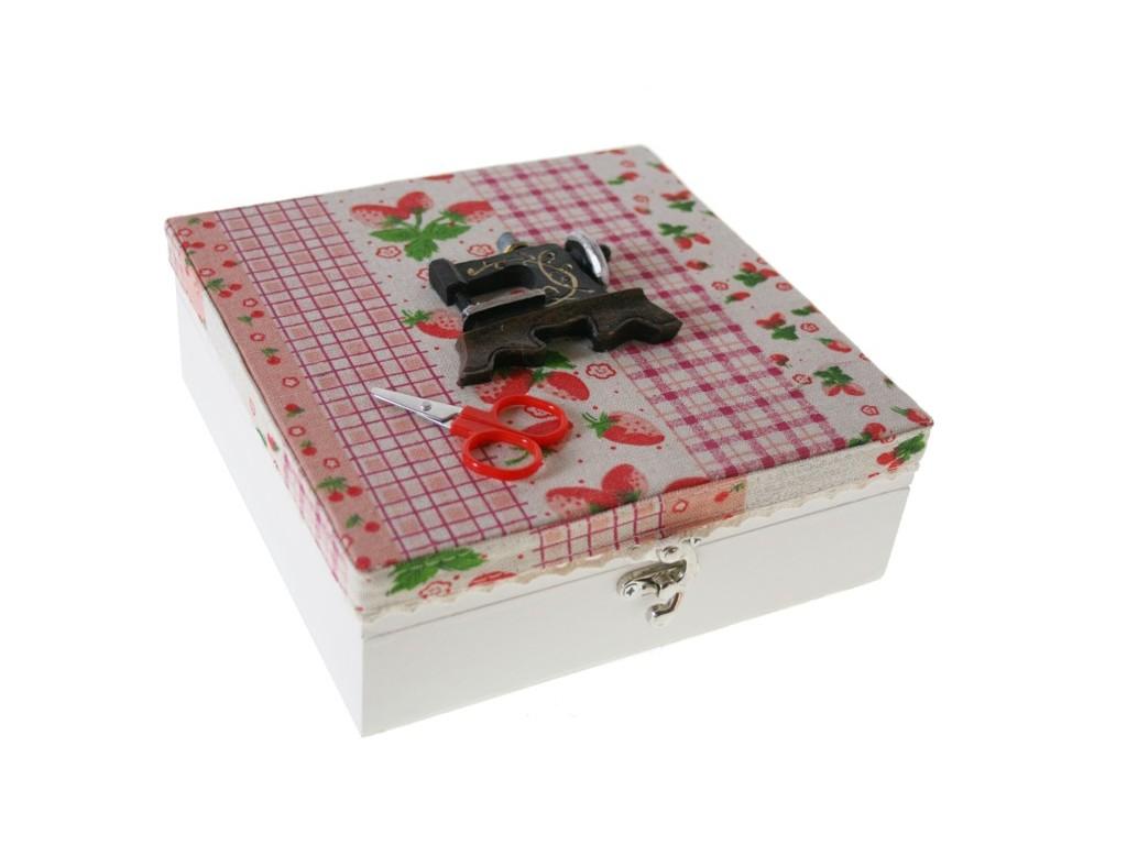 Comprar online caja costurero de madera con tapa tela y for Caja madera con tapa