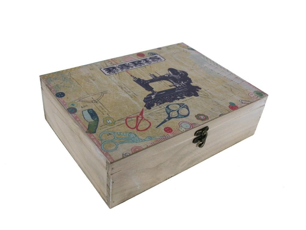 Comprar online caja de madera para costura con decoraci n en tapa par s - Cajas de madera online ...