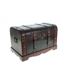 Baúl de madera pequeño con aplicaciones de piel