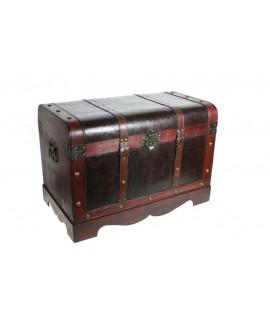 Baúl de madera grande con aplicaciones de cuero