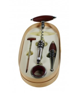 Set de accesorios para vino presentación con caja de madera menaje de mesa. Medidas: 3x21x11 cm.