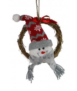 Corona de Navidad muñeco de nieve