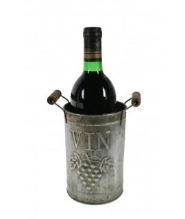 Botellero de metal color zinc asa de madera para una botella estilo vintage decoración presentación mesa