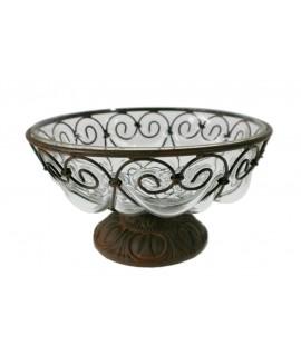 Frutero y centro de mesa de metal y vidrio decoración vintage