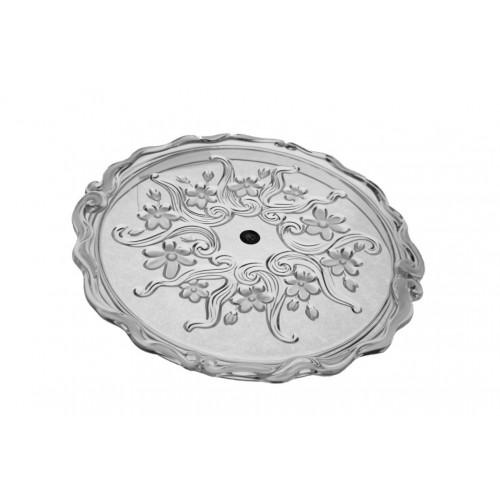 Bandeja redonda de cristal tallado con dibujo flores. Menaje de mesa