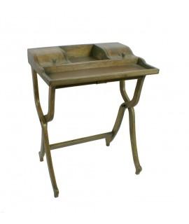 Moble auxiliar escriptori de fusta massissa de color roure estil vintage