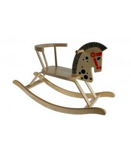 Cheval à bascule en bois avec dossier. Mesures: 48x80x30 cm.