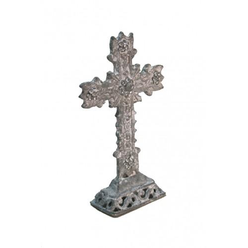 Cruz de mesa pequeño de metal con pedreria