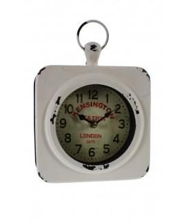 Reloj de pared pequeño en metal color blanco envejecido vintage hogar