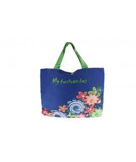 Grand sac polyvalent bleu avec poignées idéal pour la plage.