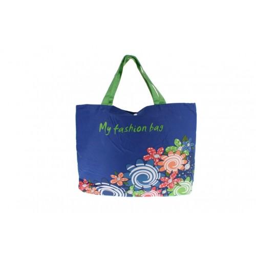 Bolsa multiuso grande de color azul con asas ideal para playa.