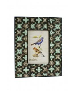 Cadre photo en bois de couleur ethnique turquoise