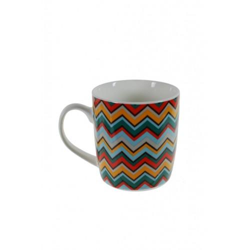 Taza mug taza para café de porcelana multicolores diseño geométrico estilo vintage para los desayunos