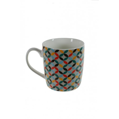 Taza mug de cerámica para desayuno con diseño geométrico