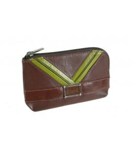 Porte-clés et petit sac à main marron en cuir de vachette.