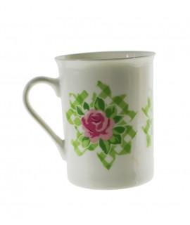 Taza té y café de cerámica para desayuno con diseño flor color verde