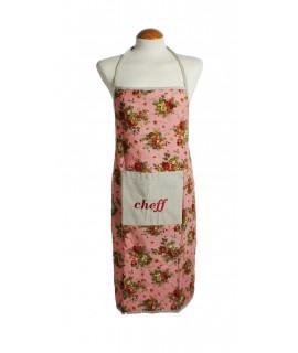 Delantal cocina con peto anagrama bordado cheff color rosa vintage