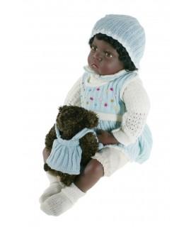 Muñeca negrita muy original de estilo clásico con vestido de punto